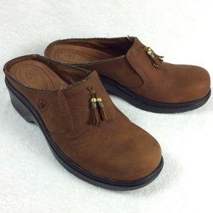 Ariat Clogs Brown Nubuck Leather Tassels Slip-Ons